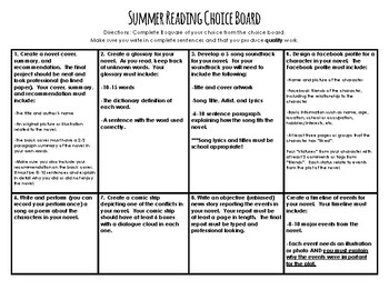 Summer Reading Choice Board Assignment and Rubric