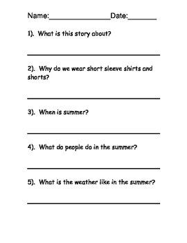 Summer Reading Comprehension Packet