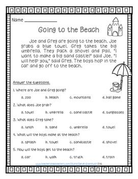Summer Reading Comprehension Passages