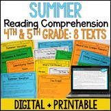 Summer Reading Comprehension - Digital Summer Reading Activities