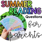Summer Reading Comprehension Questions for Parents | Use with any book!