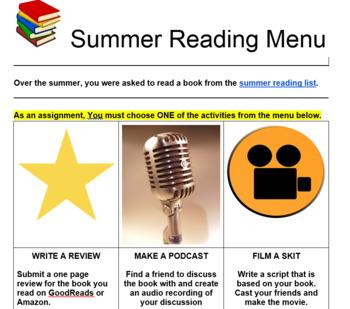 Summer Reading Digital Assessment Menu