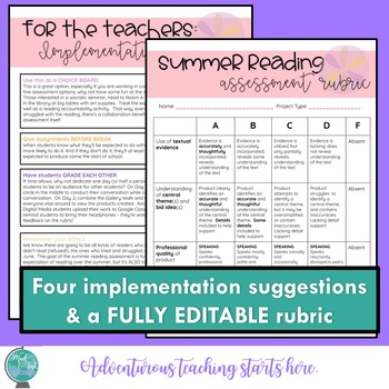 Summer Reading:  Five Assessment Options for Secondary ELA {Rubric Included}