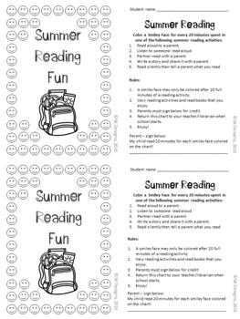 Summer Reading Encourage & Track Practice No Prep Printable Incentive Charts