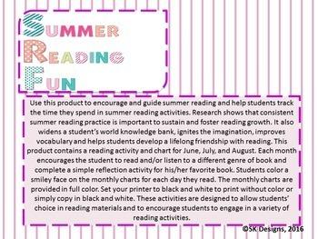 Summer Reading Fun Activities, Tracking Charts Record, Book Selection Printables