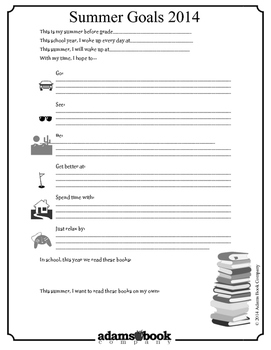 Summer Reading Goals Worksheet