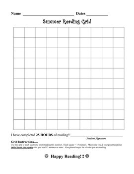 Summer Reading Grid - to track minutes read!!