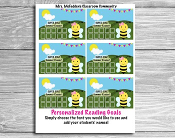 Summer Reading Incentive Cards- Editable!  Add your Students' Names