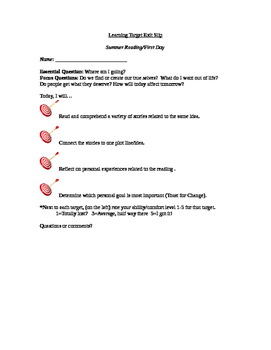 Summer Reading Learning Target slip