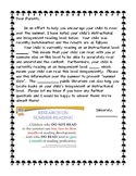 Summer Reading Letter to Parents