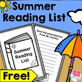 Summer Reading List- End of Year Activity