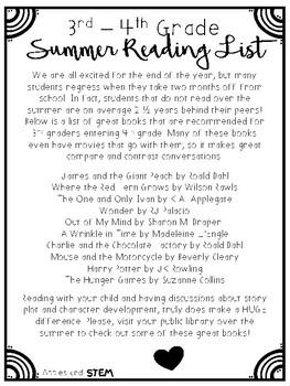 Summer Reading List 3rd - 4th Grade