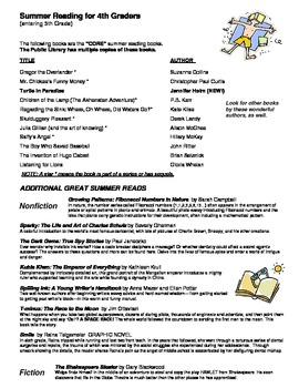 Summer Reading List - 4th grade entering 5th