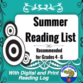 Summer Reading Lists Grades 4 - 6 with Reading Log