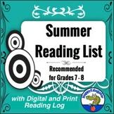 Summer Reading List Grade 7 - 8