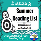 Summer Reading Lists Grades 7 - 8 with Reading Log