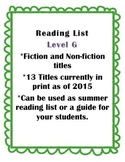 Summer Reading List - Guided Reading Level G