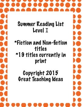 Summer Reading List - Guided Reading Level I