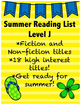 Summer Reading List - Guided Reading Level J