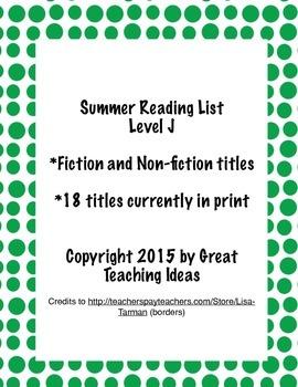 Summer Reading List - Guided Reading Level K