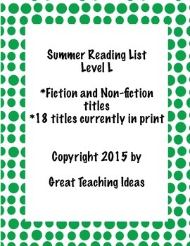 Summer Reading List - Guided Reading Level L