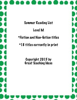 Summer Reading List - Guided Reading Level M