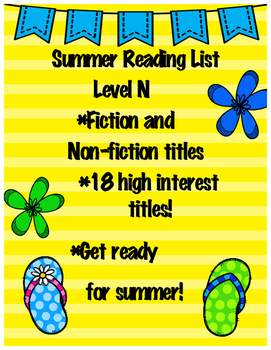 Summer Reading List - Guided Reading Level N