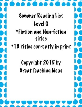 Summer Reading List - Guided Reading Level O