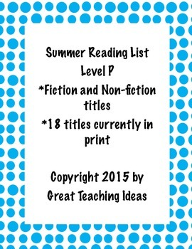 Summer Reading List -Guided Reading Level P