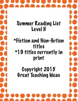 Summer Reading List - Guided Reading Level H