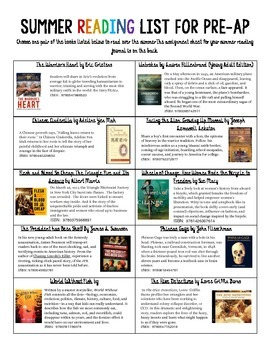 Summer Reading List for Pre-AP English - 2015