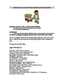 Summer Reading List for Students Entering 4th Grade