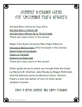Summer Reading List for Upcoming Third Graders