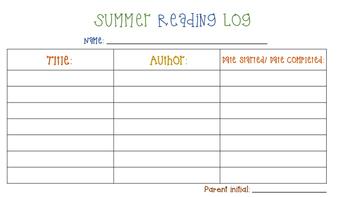 Summer Reading Log -FREE!!!