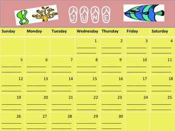 Summer Reading Log- Calendar