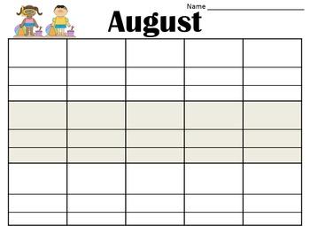 Summer Reading Log Calendar
