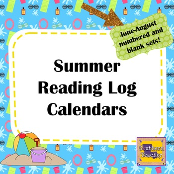 Summer Reading Log Calendar