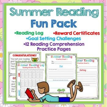 Summer Reading Log, Goal Setting, Certificates, Reading Skills Practice Sheets