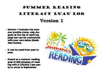 Summer Reading Log- Literacy Luau
