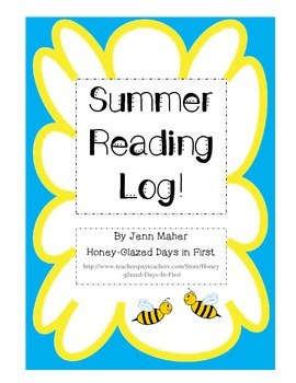 Summer Reading Log, Primary Lines, Kindergarten, First, Second, Third