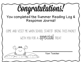 Summer Reading Log and Response Booklet w/Rewards & Activities