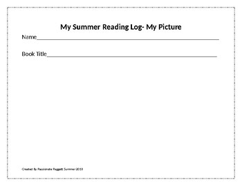 Summer Reading Log for 2nd- 5th  Grade Students