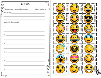 Summer Reading Log with Fun Emoji Stickers