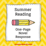 Summer Reading One-Page Novel Response