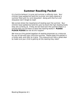 Summer Reading Packet - Editable