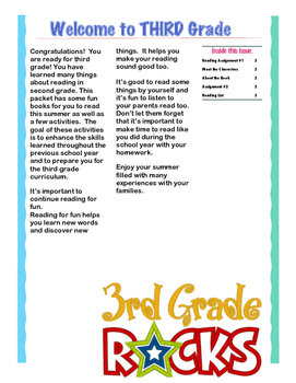 Summer Reading Packets for Grades 3-6