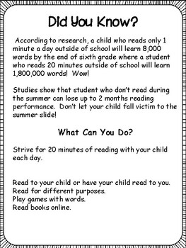 Summer Reading: Parent Letter, Contract, Log.....