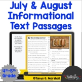 Summer Reading Passages 4th Grade   Informational Text   P