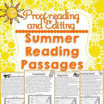 Summer Reading Passages: Proofreading and Editing