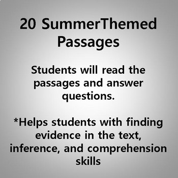 Summer Reading Passages and Math Printables Bundle